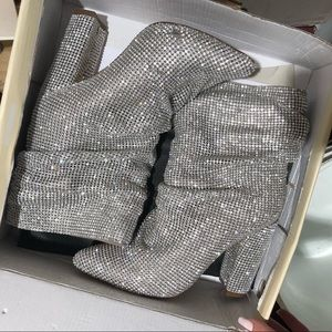 Shoes - Ankle High Rhinestone Embelished Slouchy Boots